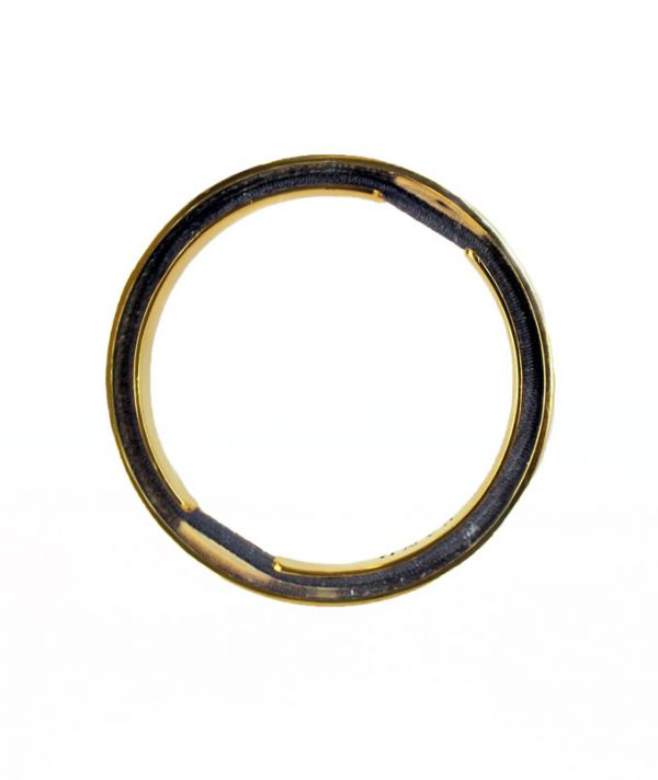 Bangle & Band gold plated hair tie bracelet; this beautiful jewelry features a small channel on the side of the bangle for the purpose of storing a hair tie.