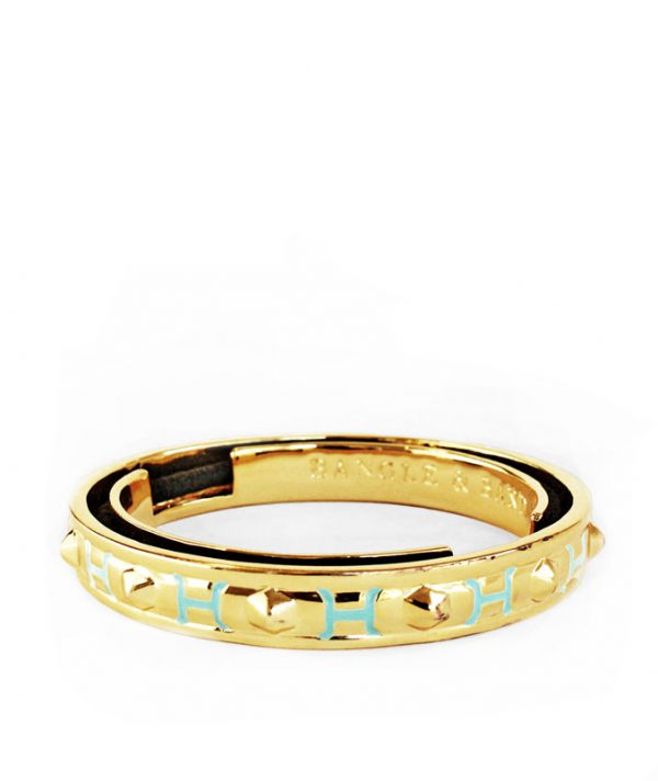 Bangle & Band hair tie bracelet; 14K gold plated brass with sea blue enamel pattern.
