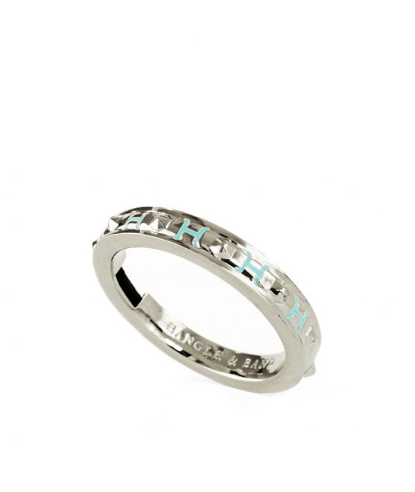 Bangle & Band silver-tone hair tie bracelet with sea blue enamel; this beautiful piece of jewelry features a narrow channel on the side of the bangle for the purpose of holding a hair tie.